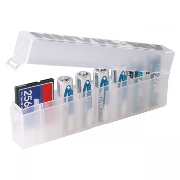 Ansmann Akku Aufbewahrungsbox für bis zu 8 Zellen für AA / AAA / CR123 Akkus und Batterien