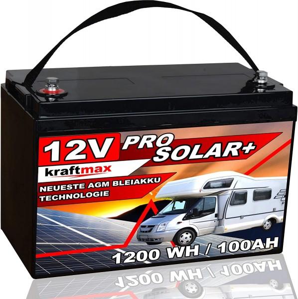 kraftmax Industrial Pro Bleiakku [ 12V / 100Ah / Solar Akku ] AGM Hochleistungs- Blei Akku