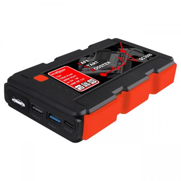 Kraftmax QC3000 Jumpstarter Powerbank KFZ Starthilfe mit Auto Boost für 12V Autobatterie
