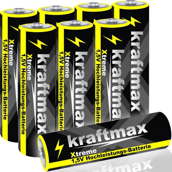 Kraftmax 8er Pack Mignon AA 1,5V Alkaline Batterie - Xtreme Industrial Longlife Performance - Hoch-
