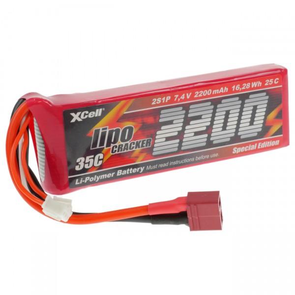 XCell LiPo Cracker 2S1P - 7,4V / 2100mAh / Li-Poly - 7,4 Volt Racing Akku mit EHR / XH / T-Buchse