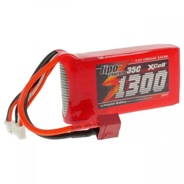 XCell LiPo Cracker 7,4V / 1300mAh 2S1P, 35C, T-Buchse EHR/XH/T-Buchse