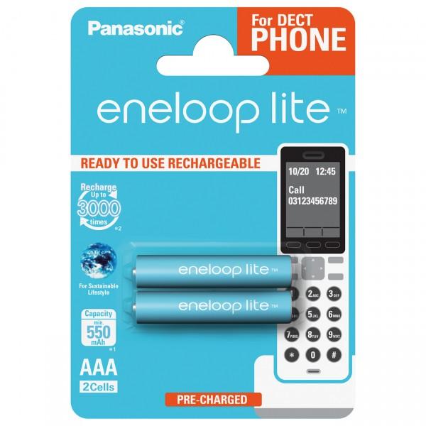 2er Blister eneloop lite Micro Akku - 1,2V / 600mAh / NIMH Akkus für DECT Telefon NEUSTE VERSION