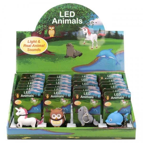 HyCell Schlüsselleuchte LED Animals Einhorn, Delphin, Eule, Seehund LED-Licht und Tiergeräusch