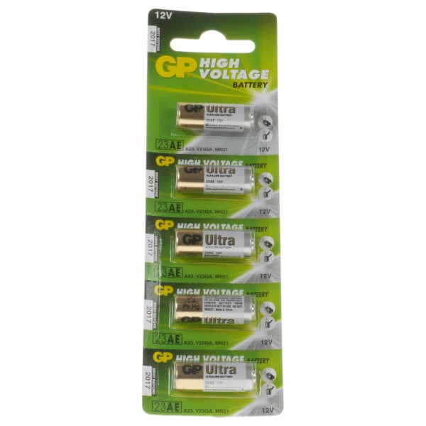 5er Blister GP Ultra Alkaline 23A - 12V / 38mAh / AlMn - 12 Volt Alkaline Batterien