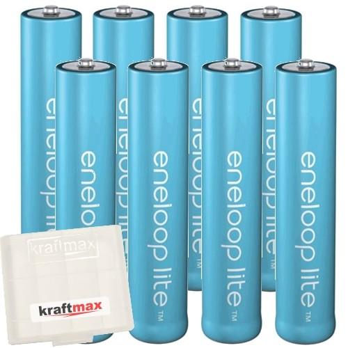 8er Pack Panasonic Eneloop Lite AAA/Micro Akkus - Neueste Generation - Hochleistungs Akku Batterien