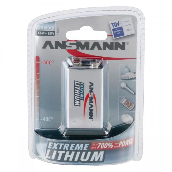1er Blister Ansmann Extreme Lithium 9V Block Batterie - 9V / 1200mAh - 9 Volt 6AM6 Blockbatterie