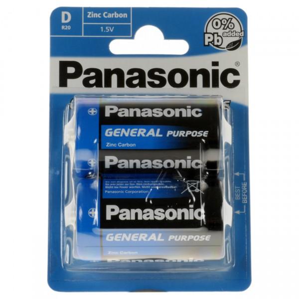 2er Blister Panasonic General Purpose 1,5V Mono D Batterie - 1,5 Volt Zn/C Mono-D