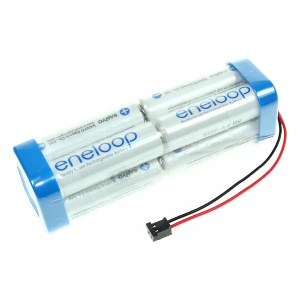 Panasonic eneloop Akkupack - 9,6V / 2000mAh / NIMH - F2x2x2 passend für Graupner Zelle eneloop AA