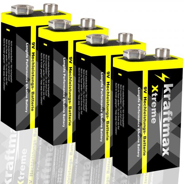 Kraftmax 4er Pack Xtreme 9V Block Hochleistungs- Batterien ideal für 10 Jahres Rauchmelder - 6LR61 9