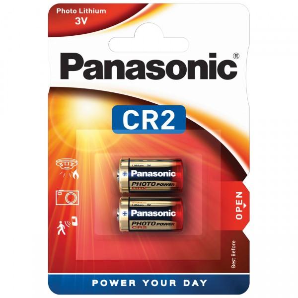 2er Blister Panasonic CR2 Photobatterie - 3V / 850mAh - 3 Volt Power Lithium Photo Batterie