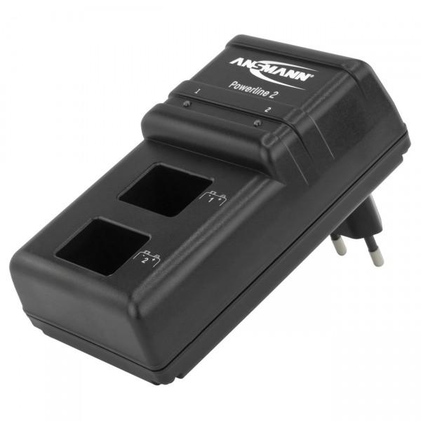 Ansmann Powerline 2 Steckerladegerät für 9 V Akkus - Ni-Cd / Ni-Mh 9 Volt Akku Ladegerät