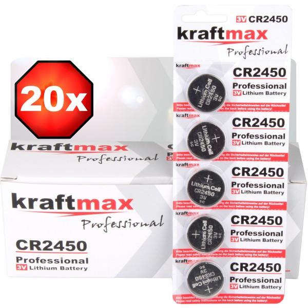 Kraftmax 20er Pack CR2450 Lithium Hochleistungs- Batterie / 3V CR 2450 Knopfzelle für professionelle