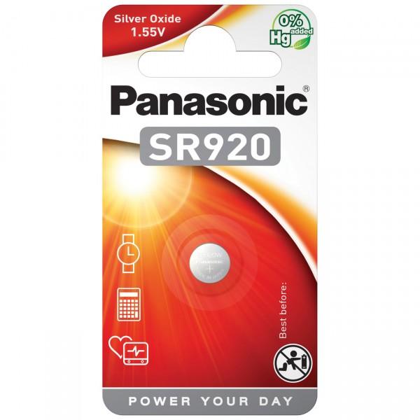 1er Blister Panasonic SR920EL Silberoxid Knopfzelle - 1,55V / 45mAh - 1,55 Volt AgO Batterie