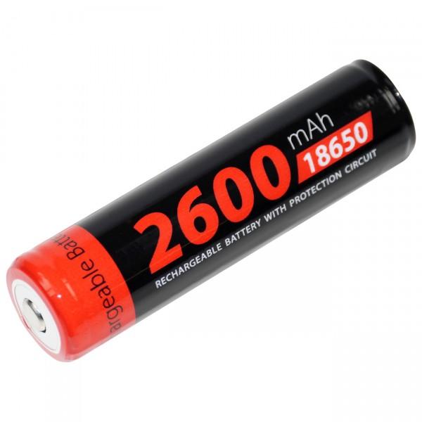 XCell 18650 Li-Ion Akku - 3,7V / 2600mAh - 18650 Akkus mit PCM Schutzschaltung für Taschenlampen