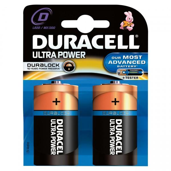 2er Blister Duracell MN1300 Ultra Power 1,5V Mono D Batterie - 1,5 Volt Alkaline LR20
