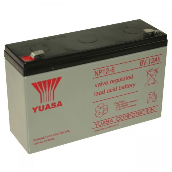Yuasa Blei - Akku NP12-6 Pb - 6V / 12Ah - Faston 6,3mm / Blei Akku mit VdS Zulassung
