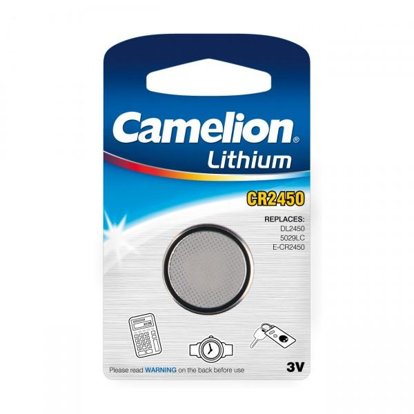 1er Blister Camelion Lithium-Knopfzelle CR2450 - 3V / 550mAh - 3 Volt Lithium CE 2450 Batterie