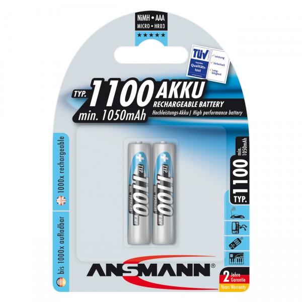 2er Blister Ansmann Akku Micro - 1,2V / 1100mAh / NIMH - 1,2 Volt AAA Ni-MH