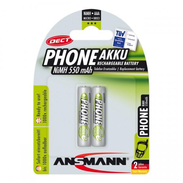 Ansmann Dect Akku Micro AAA Ni-MH 1,2V / 550mAh 2er Blister