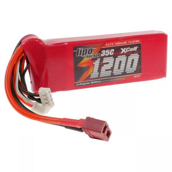 XCell LiPo Cracker 11,1V / 1400mAh 3S1P, 35C, T-Buchse EHR/XH/T-Buchse