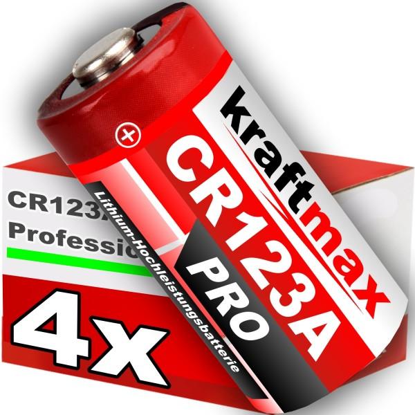 Kraftmax 4er Pack CR123 / CR123A Lithium Hochleistungs- Batterie für professionelle Anwendungen - Ne