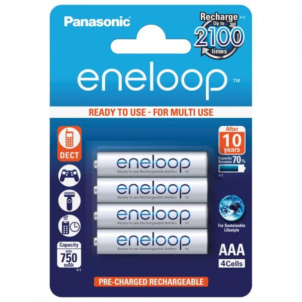 4er Blister - Panasonic eneloop Micro AAA Akkus - 1,2V / 800mAh / Ni-MH