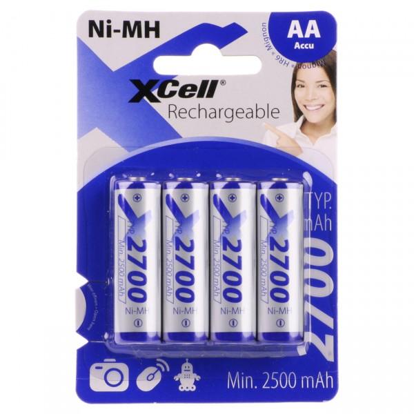 4er Blister - XCell HR6 Mignon AA Akkus - 1,2V / 2700mAh / NIMH Akku mit hoher Kapazität