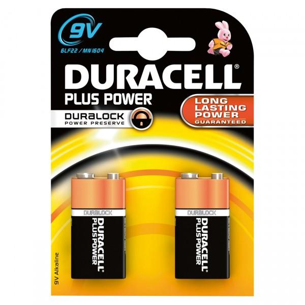 2er Blister Duracell MN1604 Plus Power 9V Alkaline Block Batterie