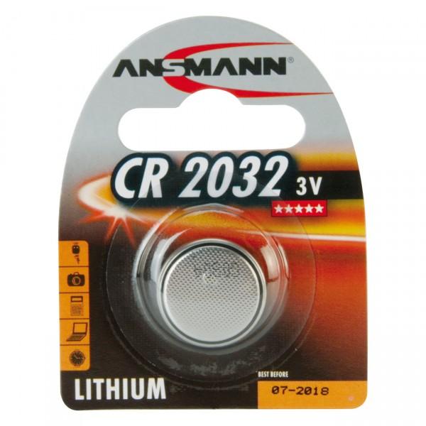 1er Blister Ansmann Lithium-Knopfzelle CR2032 - 3V / 210mAh - 3 Volt Lithium CR 2032 Batterie