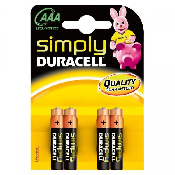4er Blister - Duracell Simply Batterie MN2400 - 1,5V Micro AAA Alkaline