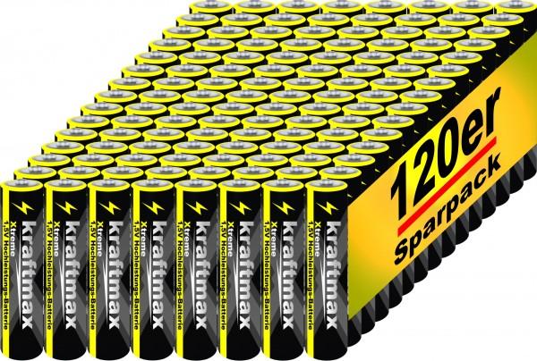Kraftmax 120er Pack Micro AAA 1,5V Alkaline Batterie - Xtreme Industrial Longlife Performance - Hoch