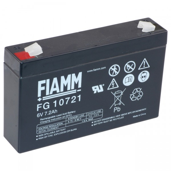 Fiamm Blei - Akku FG10721 Pb - 6V / 7,2Ah - Bleiakku mit Faston 4,8 Anschluss