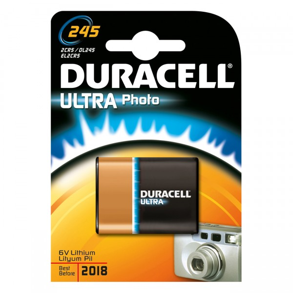Duracell Photobatterie 2CR5 Ultra Lithium - 6V / 1400mAh - 6 Volt Power Lithium Photo Batterie