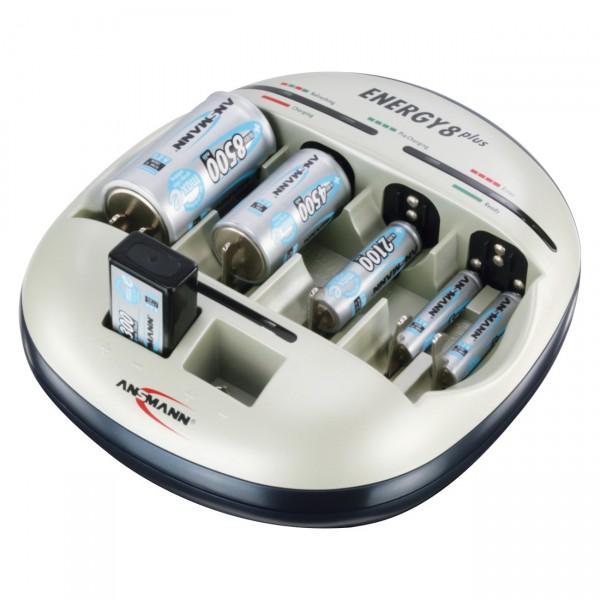 Ansmann Energy 8 plus Akku Ladegerät für AAA Micro / AA Mignon / C / D / 9V in NICD und NIMH