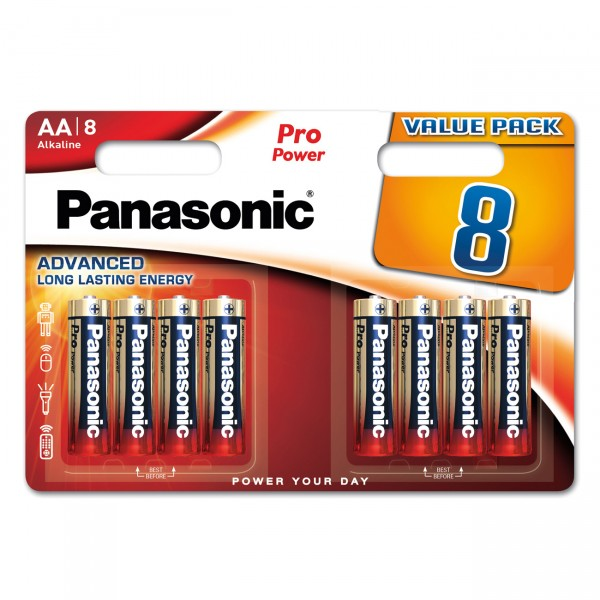 8er Blister Panasonic Pro Power Mignon LR6PPG - 1,5V LR6 Alkaline AA Batterien