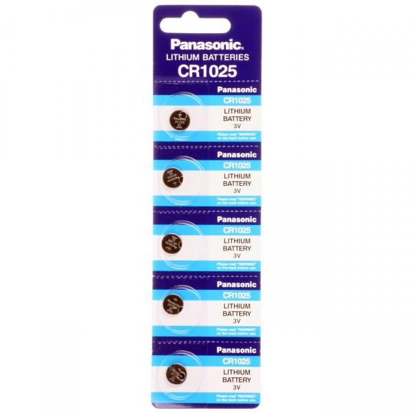 5er Blister Panasonic Lithium-Knopfzelle CR1025 - 3V / 30mAh - 3 Volt Lithium CR 1025 Batterie