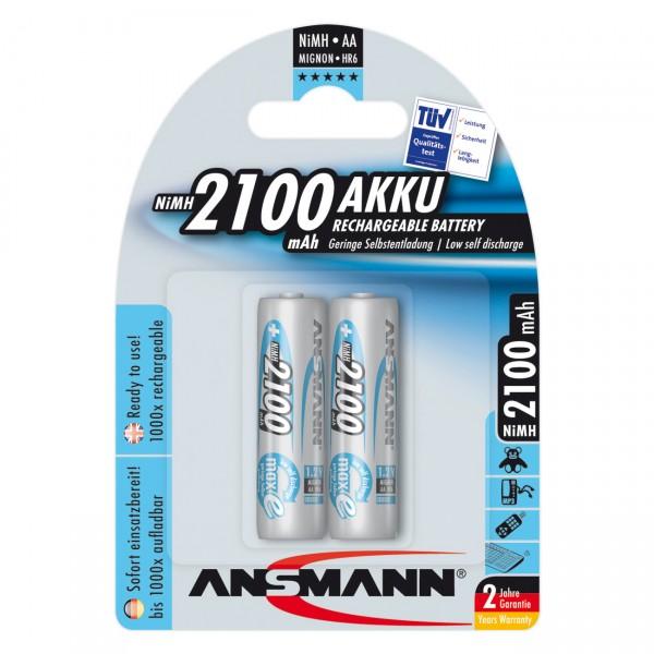 2er Blister Ansmann maxE Mignon AA Akku - 1,2V / 2100mAh / Ni-MH