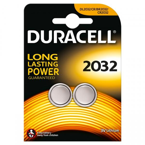 2er Blister - Duracell Lithium Batterie CR2032 - 3V / 180mAh - Lithium Knopfzelle