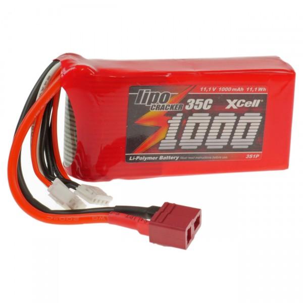 XCell LiPo Cracker 11,1V / 1000mAh 3S1P, 35C, BEC EHR/XH/BEC-Buchse