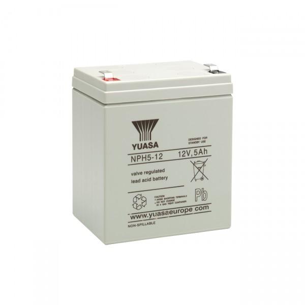 Yuasa Blei-Akku NPH5-12 - 12V / 5Ah - Hochstromakku - Blei Akku mit Faston 6,3mm Anschluss