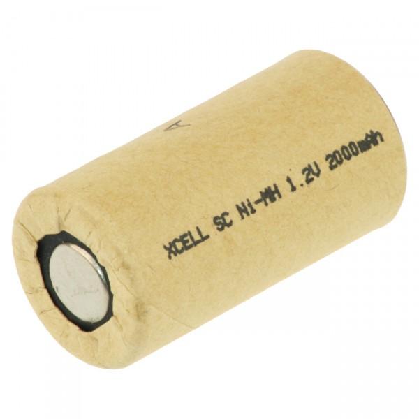 XCell Sub C Akku - 1,2V / 2000mAh / NIMH - X2000SCR/PP - Hochleistungs- Markenzelle in Industriequal