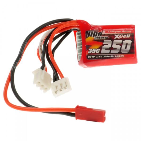 XCell LiPo Cracker 7,4V / 250mAh 2S1P, 35C, BEC EHR/XH/BEC-Buchse