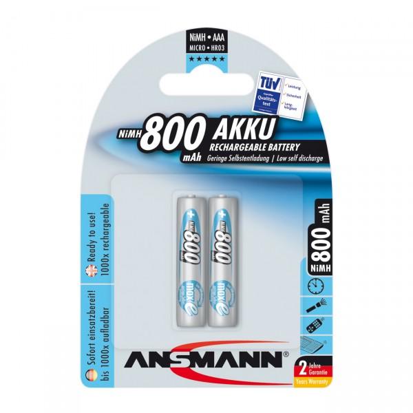 2er Blister Ansmann maxE Akku Micro - 1,2V / 800mAh / NIMH - 1,2 Volt AAA Ni-MH
