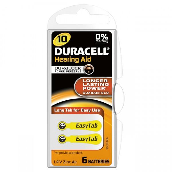 6er Rad Duracell Hörgerätebatterie 10AC Zinc Air