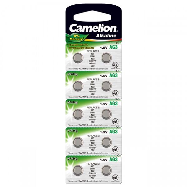 10er Blister Camelion Knopfzelle AG 3 Alkaline - 1,5 V / 70mAh - 1,5 Volt Alkali AG3 Batterie