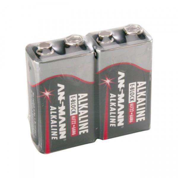 2er Pack 9 Volt Ansmann Red - 6LR61 - Alkaline 9V-Block