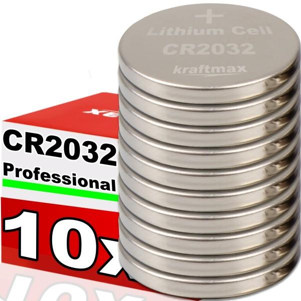 Kraftmax 10er Pack CR2032 Lithium Hochleistungs- Batterie für professionelle Anwendungen - Neuste Ge