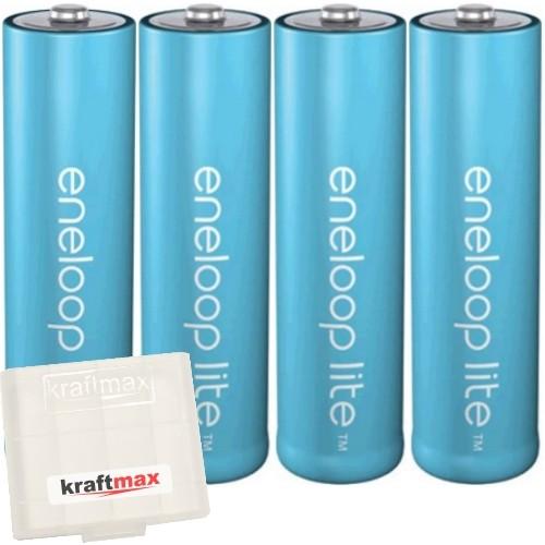 4er Pack Panasonic Eneloop Lite AA/Mignon Akkus - Neueste Generation - Hochleistungs Akku Batterien-