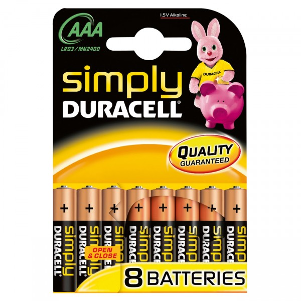 8er Duracell MN2400 Simply 1,5V Micro Alkaline Batterie - 1,5 Volt AAA Alkali Batterien
